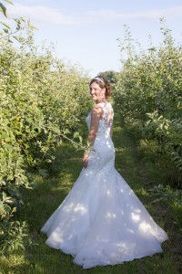 Lisa in the pear orchard