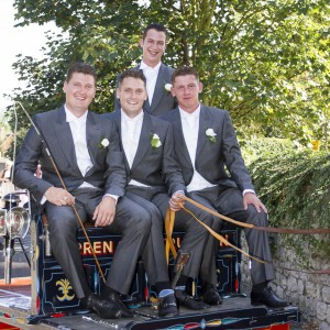 Groom and lads on a horse and cart