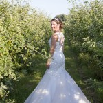 Lisa in the pear orchard after wedding.
