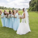 Bridal party fun picture in Massive grounds.